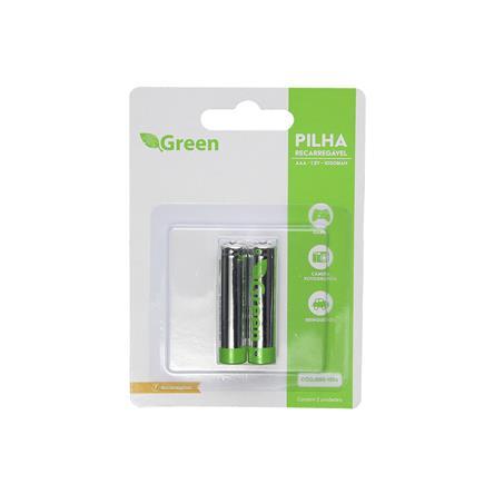 Pilha Recarregável 1.2v AAA 1000mah - C/2 PCs - Green