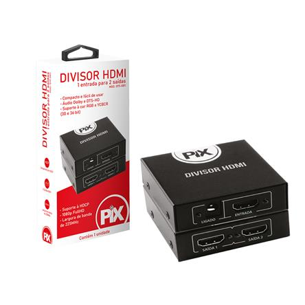 Divisor HDMI 1 Entrada 2 Saidas Compativel P/ TV 3d